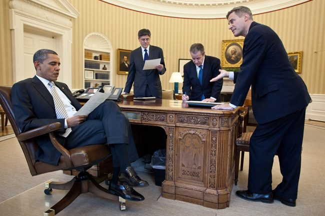President Barack Obama meets with, left to right, Chief of Staff Jack Lew, Gene Sperling, Director of the National Economic Council, and Alan Krueger, Council of Economic Advisers Chair, in the Oval Office, March 8, 2012. (Photo credit: Official White House Photo by Pete Souza)