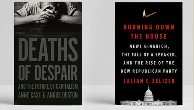 book covers for Deaths of Despair and Burning Down the House
